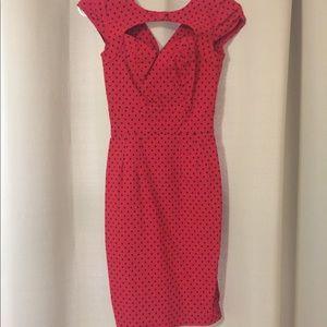 Red and black poke a dot pin up style dress